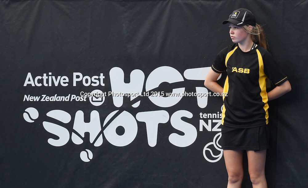 Active Post Hot Shots signage on Quarter Finals day at the ASB Classic WTA International. ASB Tennis Centre, Auckland, New Zealand. Thursday 8 January 2015. Copyright photo: Andrew Cornaga/www.photosport.co.nz