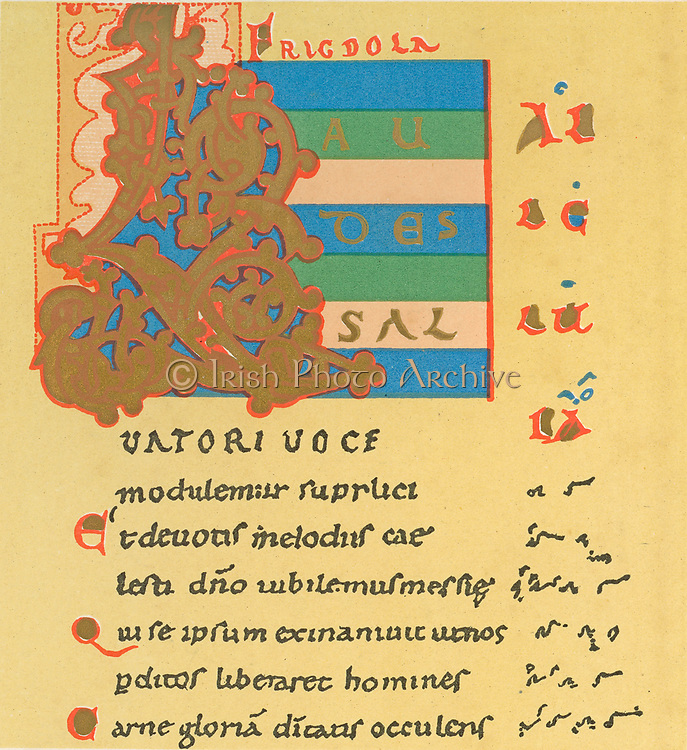 Musical notation. First page of Notker's Easter Sequence, 'Laudes Salvatori' showing Neums notation for  Gregorian chant, a system of writing music which was superseded by Staff notation.  Notker (c840-912) Benedictine monk, poet and musician  at the Abbey of St Gall, Switzerland.   10th century manuscript.
