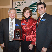 Lester P. Schindel, New England Sinai Hospital and recipient of the NVCC's Non-profit Business of the Year Award, Sue McQuaid, President of NVCC and Peter Chase, Esq. at Neponset Valley Chamber of Commerce's 115th Annual Meeting and Awards Breakfast