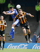 Photo: Lee Earle.<br /> Cardiff City v Hull City. Coca Cola Championship. 28/04/2007.Hull's Ian Ashbee (R) clashes with Steve Thompson.