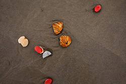 Fruits and croissants trashed on a sandy beach of Danang, Vietnam, Southeast Asia