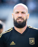 Los Angeles FC defender Laurent Ciman (23) warms up before the game against New York City in a MLS soccer match in Los Angeles, Sunday, May 13, 2018. The game ended in a 2-2 tie. (Ed Ruvalcaba/Image of Sport)