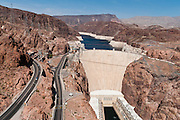 Hoover Dam, once known as Boulder Dam, is a concrete arch-gravity dam in the Black Canyon of the Colorado River, on the border between Arizona and Nevada, USA. Hoover Dam was built between 1931 and 1936 during the Great Depression, about 25 miles (40 km) southeast of Las Vegas. The dam impounds Lake Mead, the largest man-made reservoir in the United States.