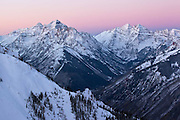 "October 19, 2013 - Dawn on the Maroon valley. What it took to get this shot.....well let's see...... getting up just before 3am, 3 miles of hiking for 3,600ft vertical gain, temperatures in the low teens, all in 3""-12"" of fresh powder snow. No headlamp required all done under a full moon."