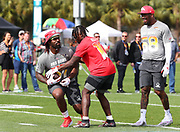 Jan 23, 2019; Kissimmee, FL, USA; Baltimore Ravens inside linebacker C.J. Mosely (57),  Kansas City Chiefs wide receiver Tyreek Hill (10) and Denver Broncos outside linebacker Von Miller (58) at the 2019 Pro Bowl at ESPN Wide World of Sports Complex. (Steve Jacobson/Image of Sport)