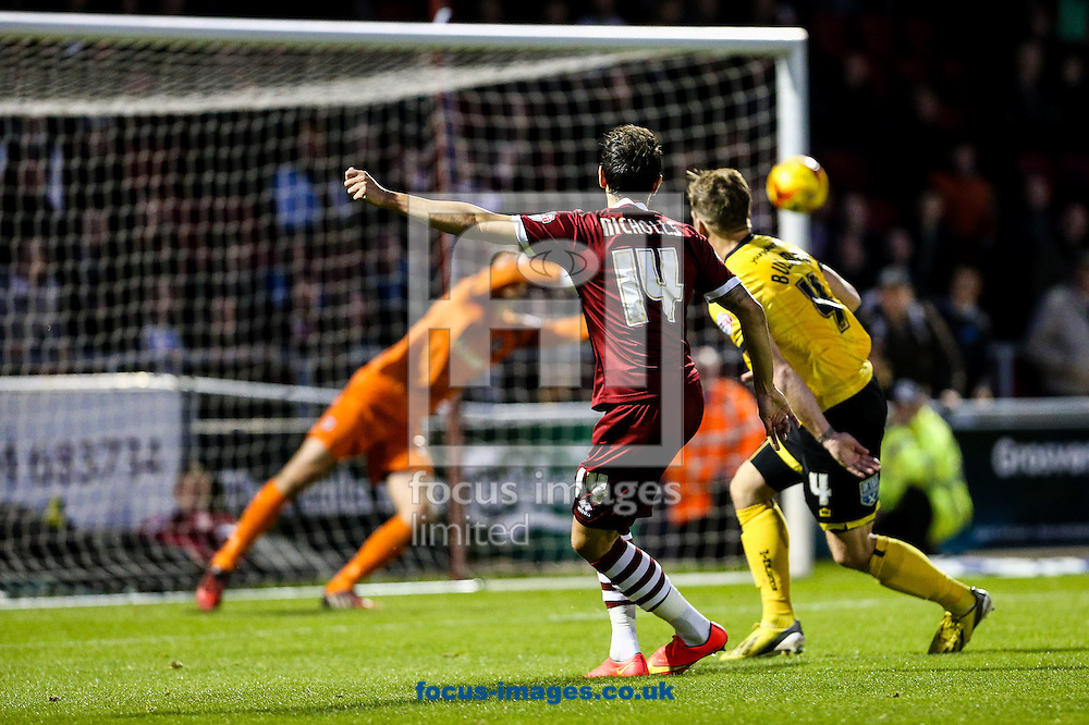 Alex Nicholls of Northampton Town (centre) scoring their second goal during the Sky Bet League 2 match at Sixfields Stadium, Northampton<br /> Picture by Andy Kearns/Focus Images Ltd 0781 864 4264<br /> 01/11/2014