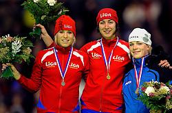28-12-2010 SCHAATSEN: KPN NK ALLROUND EN SPRINT: HEERENVEEN<br /> Annette Gerritsen, Margot Boer en Thijsje Oenema<br /> ©2010-WWW.FOTOHOOGENDOORN.NL