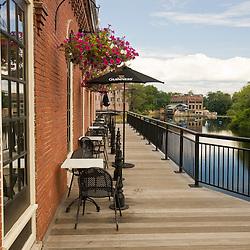 A restaraunt's deck overlooks the Nashua River on Main Street in Nashua, New Hampshire.