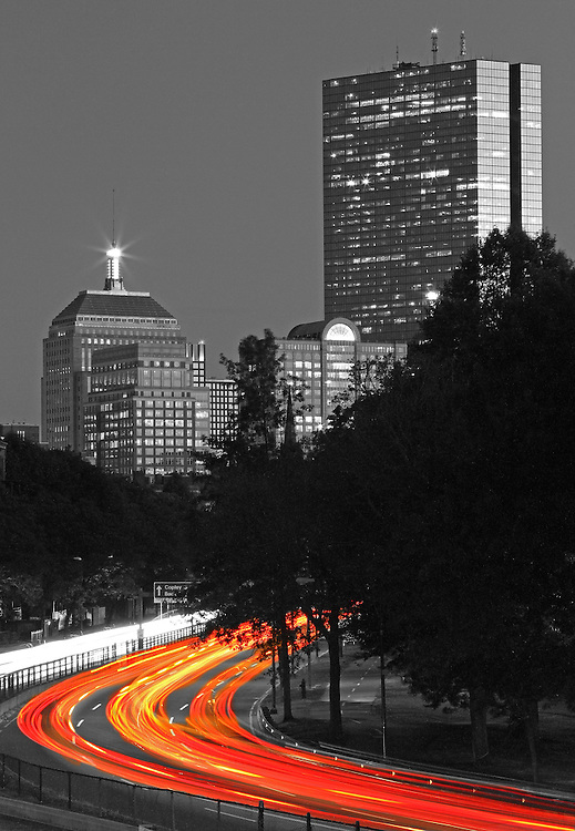 Beautiful selective color black and white Boston skyline night photography from award winning Boston fine art photographer Juergen Roth. <br />