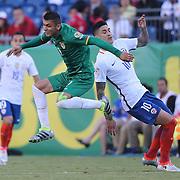 FOXBOROUGH, MASSACHUSETTS - JUNE 10:  Yasmani Duk #9 of Bolivia and Pablo Hernandez #10 of Chile in action during the Chile Vs Bolivia Group D match of the Copa America Centenario USA 2016 Tournament at Gillette Stadium on June 10, 2016 in Foxborough, Massachusetts. (Photo by Tim Clayton/Corbis via Getty Images)