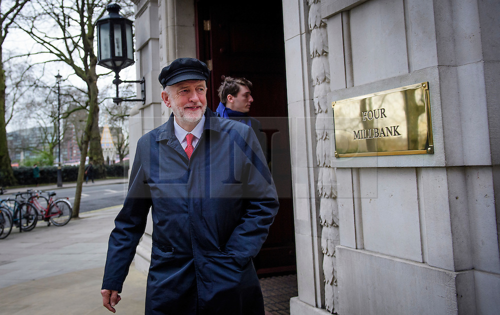 "© Licensed to London News Pictures. 10/01/2017. London, UK. Labour Party leader JEREMY CORBYN seen leaving Milbank Studios in London after A television interview. Corbyn is due to give a speech on Brexit later today, arguing that the UK ""can be better off"" after leaving the EU. Photo credit: Ben Cawthra/LNP"