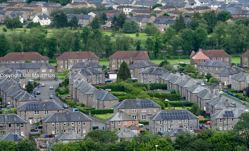 Elevated view of old former social housing scheme in Raploch district of Stirling , Scotland, UK