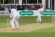 Will Davis bowling during the Specsavers County Champ Div 2 match between Leicestershire County Cricket Club and Derbyshire County Cricket Club at the Fischer County Ground, Grace Road, Leicester, United Kingdom on 28 May 2019.