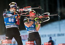 Adam Vaclavik (CZE) and Mitja Drinovec (SLO) in action during the Men 10km Sprint at day 6 of IBU Biathlon World Cup 2018/19 Pokljuka, on December 7, 2018 in Rudno polje, Pokljuka, Pokljuka, Slovenia. Photo by Vid Ponikvar / Sportida