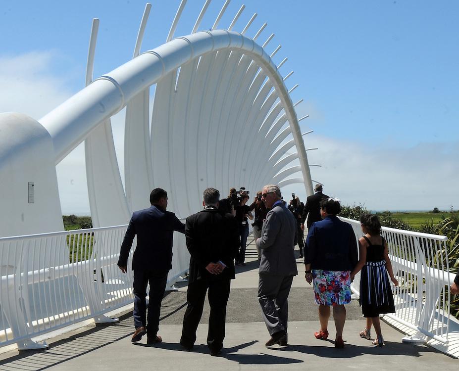 Prince Charles, Prince of Wales walks across the Te Rewa Rewa Bridge on the Coastal Walkway, New Plymouth, New Zealand, New Zealand, Monday, November 09, 2015. Credit:SNPA / Ross Setford