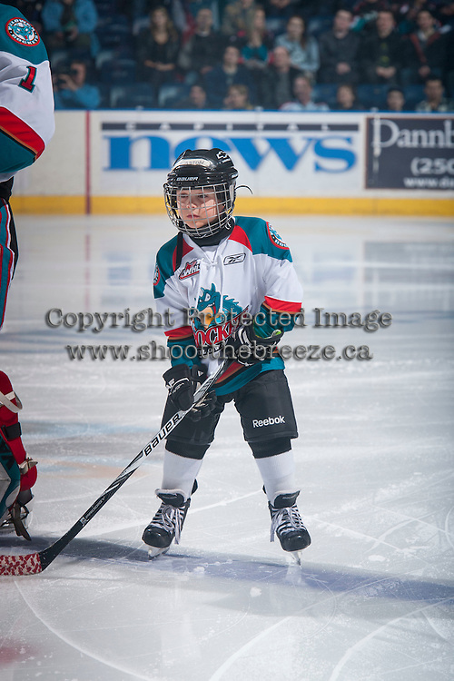 KELOWNA, CANADA - JANUARY 23: The Pepsi Save On Foods Player of the Game lines up  with the Kelowna Rockets against the Everett Silvertips on January 23, 2015 at Prospera Place in Kelowna, British Columbia, Canada.  (Photo by Marissa Baecker/Shoot the Breeze)  *** Local Caption *** Pepsi Save on Foods Player;