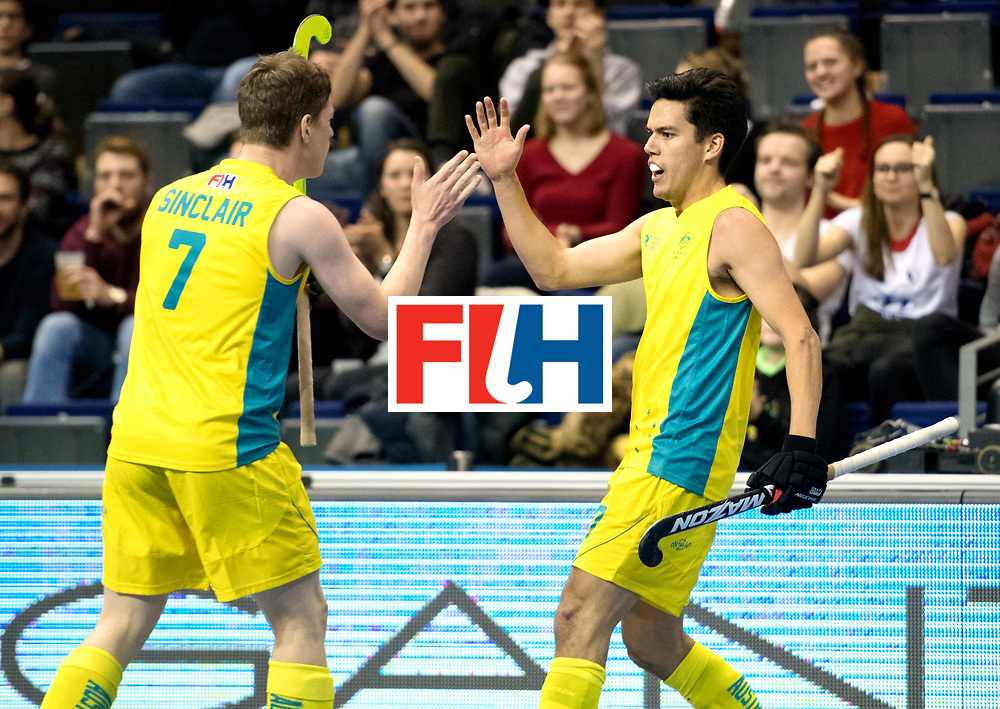 BERLIN - Indoor Hockey World Cup<br /> Quarterfinal 4: Australia - Belgium<br /> foto: Jake Sherren.<br /> WORLDSPORTPICS COPYRIGHT FRANK UIJLENBROEK