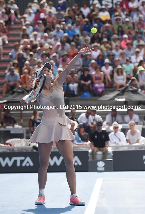Denmark's Caroline Wozniacki in action during Quarter Finals day at the ASB Classic WTA International. ASB Tennis Centre, Auckland, New Zealand. Thursday 8 January 2015. Copyright photo: Andrew Cornaga/www.photosport.co.nz