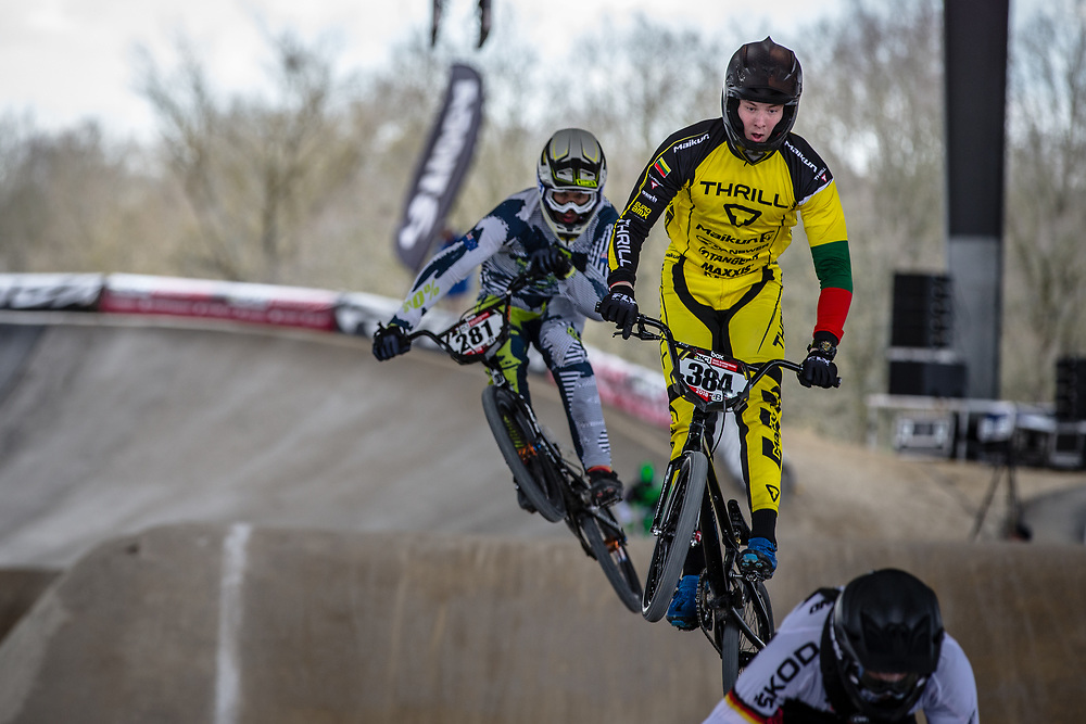 #384 (PABIJANSKAS Gabrielius) LTU at Round 2 of the 2018 UCI BMX Superscross World Cup in Saint-Quentin-En-Yvelines, France.