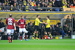 01.03.2014, Signal Iduna Park, Dortmund, GER, 1. FBL, Borussia Dortmund vs 1. FC Nuernberg, 23. Runde, im Bild Wechsel zwischen Manuel Friedrich (Borussia Dortmund #2), Sokratis (Borussia Dortmund #25) mit Trainer Juergen Klopp (Borussia Dortmund) // during the German Bundesliga 23th round match between Borussia Dortmund and 1. FC Nuernberg at the Signal Iduna Park in Dortmund, Germany on 2014/03/01. EXPA Pictures © 2014, PhotoCredit: EXPA/ Eibner-Pressefoto/ Schueler<br /> <br /> *****ATTENTION - OUT of GER*****