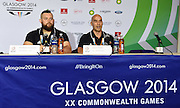 Glasgow Commonwealth Games 2014. Stanislav Chalaev and Adam Storey during a Weightlifting Press conference at the Main Press Centre. Glasgow, Scotland. United Kingdom. Photo: Andrew Cornaga/Photosport.co.nz
