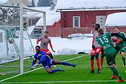 Fotball, treningskamp Str&oslash;mmen - Ham-Kam<br /> Str&oslash;mmen stadion<br /> Scoring Ham Kam<br /> Bildene kan brukes i Hamar Arbeiderblad<br /> <br /> &copy; Foto Dag W. Grundseth <br /> Bildet m&aring; ikke publiseres i noen form, elektronisk eller p&aring; trykk uten avtale med fotograf.<br />  2018