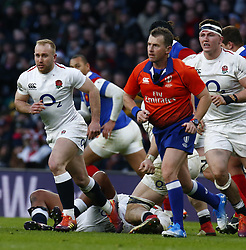 February 10, 2019 - London, England, United Kingdom - L-R Dan Robson of England and Referee Nigel Owens (Orange) during the Guiness 6 Nations Rugby match between England and France at Twickenham  Stadium on February 10th, 2019 in Twickenham, London,  England. (Credit Image: © Action Foto Sport/NurPhoto via ZUMA Press)