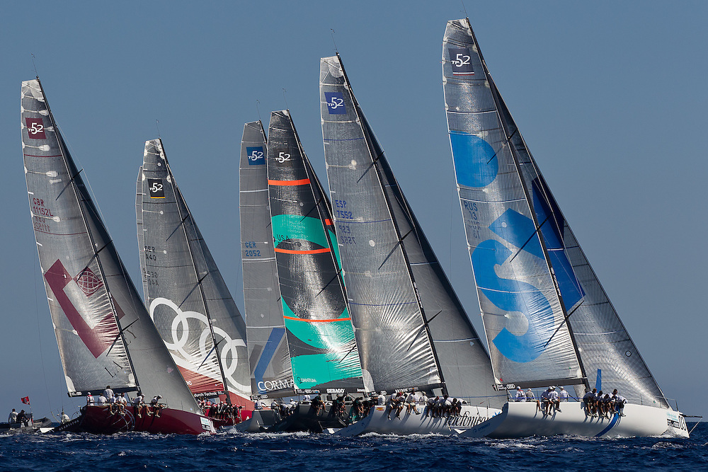 SPAIN, Barcelona. 16th September 2011. AUDI MedCup, Conde de Godo Barcelona Trophy. L-R Gladiator, Audi Sailing Team powered by ALL4ONE, CONTAINER, Quantum Racing, BRIBON and Synergy Russian Sailing Team.