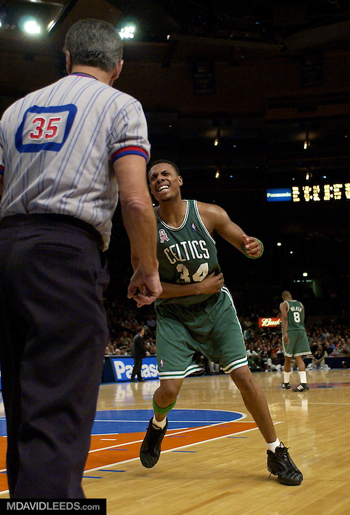 05 Jan 2002: Celtics forward Paul Pierce #34 takes exception to referee Jack Nies whistling him for an offensive foul during the second half of the game between the Celtics and the Knicks at Madison Square Garden in New York, New York.  Pierce led all scorers with 28 points and led the Celtics to a 90-81 victory over the Knicks.