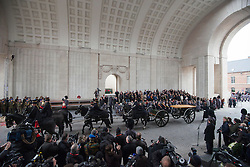 Pic Shows a specially adapted WW1 era gun carriage of the King's Troop Royal House Artillery arriving to be loaded  with soil from 70 different Flanders battlefields and Commonwealth war Grave Cemeteries. <br /> The Duke of Edinburgh at the Menin Gate in Ypres, Belgium, at a ceremony on Armistice Day to mark the gathering of soil for the Flanders Fields Memorial Garden at the Guards Museum in London, United Kingdom. Monday, 11th November 2013. Picture by i-Images