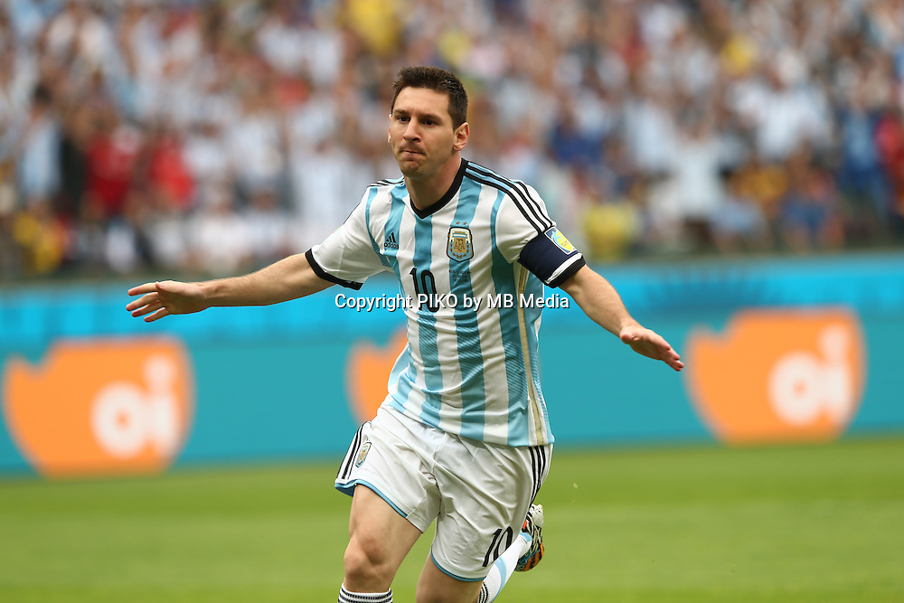 Fifa Soccer World Cup - Brazil 2014 - <br /> NIGERIA  (NGA) Vs. ARGENTINA (ARG) - Group F - Estadio Beira-RioPorto Alegre - Brazil (BRA) - June 25, 2014 <br /> Here Argentine player Lionel Messi celebrating first goal. Scoring the goal for the 1-0.<br /> &copy; PikoPress