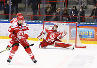 2020-02-12 | Ljungby, Sweden: Troja-Ljungby (36) Wictor Ragnewall with a save during the game between IF Troja / Ljungby and Huddinge IK at Ljungby Arena ( Photo by: Fredrik Sten | Swe Press Photo )<br /> <br /> Keywords: Ljungby, Icehockey, HockeyEttan, Ljungby Arena, IF Troja / Ljungby, Huddinge IK, fsth200212, ATG HockeyEttan, Allettan