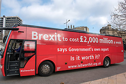 "© Licensed to London News Pictures. 22/02/2018. Bristol, UK. The ""Brexit: Is it worth it?"" bus tour visits Bristol on the second day of a national tour, together with a ""Boris"" lookalike. ""Brexit: Is it worth it?"" is a grassroots campaign to tell the truth about the costs of leaving the EU. The campaign says a leaked report by the  Government says that Brexit will cost the UK £2,000 million a week, and this figure is painted on the side of the ""Brexit: Is it worth it?"" bus. This is in contrast to the Vote Leave campaign's bus during the EU referendum campaign which claimed the UK sends the EU £350m a week and which Boris Johnson said could be used to fund the NHS instead. Photo credit: Simon Chapman/LNP"