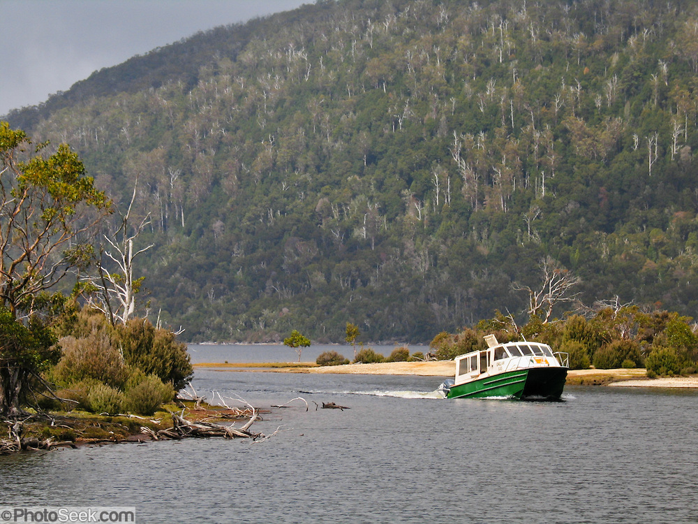 ida clair ferry lake st clair tasmanian wilderness  the ida clair ferries bushwalkers from cynthia bay to narcissus point across lake saint clair to