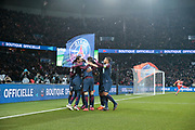 Angel Di Maria (psg) scored the first goal, celebration with Edinson Roberto Paulo Cavani Gomez (psg) (El Matador) (El Botija) (Florestan), Edinson Roberto Paulo Cavani Gomez (psg) (El Matador) (El Botija) (Florestan), Thiago Silva (PSG), Yuri Berchiche (PSG), Presnel Kimpembe (PSG), Julian Draxler (PSG) during the French Cup, quarter final football match between Paris Saint-Germain and Olympique de Marseille on February 28, 2018 at Parc des Princes Stadium in Paris, France - Photo Stephane Allaman / ProSportsImages / DPPI
