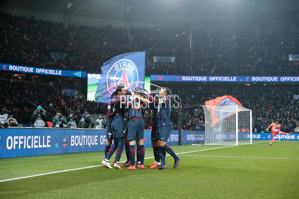 Angel Di Maria (psg) scored the first goal, celebration with Edinson Roberto Paulo Cavani Gomez (psg) (El Matador) (El Botija) (Florestan), Edinson Roberto Paulo Cavani Gomez (psg) (El Matador) (El Botija) (Florestan), Thiago Silva (PSG), Yuri Berchiche (PSG), Presnel Kimpembe (PSG), Julian Draxler (PSG) during the French Cup, quarter final football match between Paris Saint-Germain and Olympique de Marseille on February 28, 2018 at Parc des Princes Stadium in Paris, France - Photo Stephane Allaman / ProSportsImages / DPPI