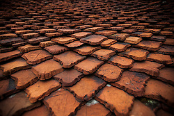 Pattern of an old building rooftop's tiles, Hanoi, Vietnam, Southeast Asia