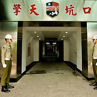 Taiwanese military police, keep guard outside of the Chintien Hall, in the  Kinmen island , Taiwan, on Monday May 18,2009/ Photographer: Bernardo De Niz/