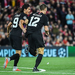 Edinson Cavani and Thomas Meunier of PSG celebrate during the Champions League match between Liverpool and Paris Saint Germain at Anfield on September 18, 2018 in Liverpool, England. (Photo by Anthony Dibon/Icon Sport)