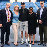 May 15, 2014, New Haven, Connecticut:<br /> Former professional tennis player James Blake pose for a photograph during a free tennis lesson and clinic Thursday, May 15, 2014 in advance of the 2014 New Haven Open at the Yale University Tennis Center in New Haven, Connecticut. <br /> (Photo by Billie Weiss/New Haven Open)
