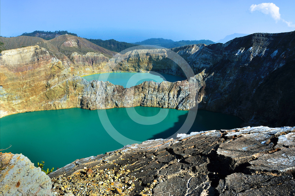 Kelimutu ([kəliˈmutu]) is a volcano, close to the small town of Moni in central Flores island in Indonesia. The volcano is around 50 km to the east of Ende, Indonesia, the capital of Ende regency in East Nusa Tenggara province.