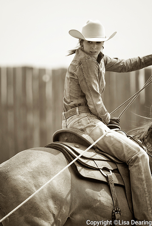 Cowgirl Roping a Steer