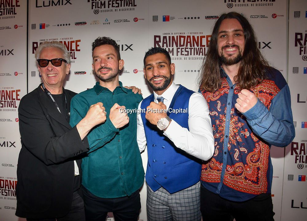 Elliot Grove,Oliver Clark , Amir Khan and Blair MacDonald attend World Premiere of Team Khan - Raindance Film Festival 2018 at Vue Cinemas - Piccadilly, London, UK. 29 September 2018.