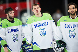 Rok Ticar of Slovenia, Nik Pem of Slovenia and Matija Pintaric of Slovenia look dejected after the 2017 IIHF Men's World Championship group B Ice hockey match between National Teams of Finland and Slovenia, on May 10, 2017 in AccorHotels Arena in Paris, France. Photo by Vid Ponikvar / Sportida