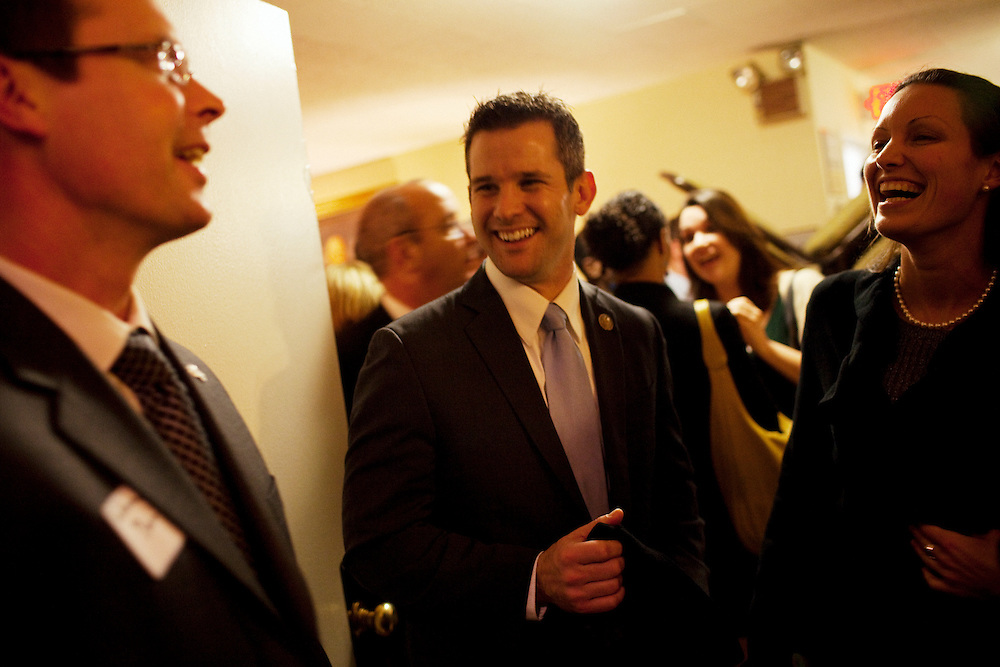 Freshman Congressman Adam Kinzinger, 32, (Republican, Illinois) interacts with supporters in The Capital Hill Club after being sworn in to office at the United States Capital in Washington, DC on Wednesday, January 5, 2011. He will be a member of the 112th Congress, and represents the 11th Congressional District.