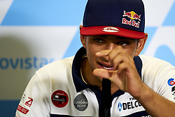 September 22, 2018 - Alcaniz, Teruel, Spain - Jorge Martin (88) of Spain and Del Conca Gresini Moto3 during press conference after qualifying for the Gran Premio Movistar de Aragon of world championship of MotoGP at Motorland Aragon Circuit on September 22, 2018 in Alcaniz, Spain. (Credit Image: © Jose Breton/NurPhoto/ZUMA Press)