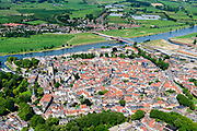 Nederland, Gelderland, Gemeente Zutphen, 17-07-2017; overzicht van de binnenstad met Sint Walburgiskerk, IJssel met spoorbrug in de achtergrond.<br /> Overview of the town with St. Walburga Church<br /> <br /> luchtfoto (toeslag op standard tarieven);<br /> aerial photo (additional fee required);<br /> copyright foto/photo Siebe Swart