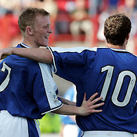Hamilton Accies v St Johnstone...4.09.04<br />Mark Baxter celebrates his goal with Michael Moore<br /><br />Picture by Graeme Hart.<br />Copyright Perthshire Picture Agency<br />Tel: 01738 623350  Mobile: 07990 594431