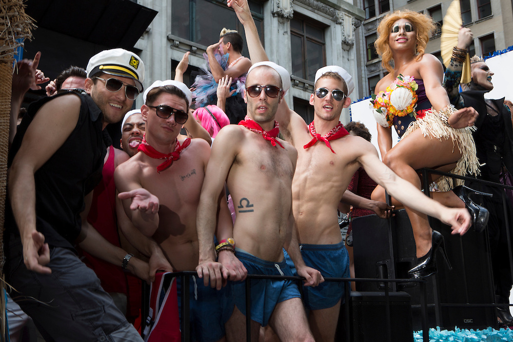 Men in sailor hats ride on a float in support of the candidacy of Tom Greco, who is running for state senate in New York.