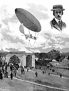 Alberto Santos-Dumont (1873-1932) Brazilian aviation pioneer. Here in his airship (dirigible) No. 6 descending at the Aero Park, Paris, after winning the Deutsch prize, 19 October 1901. Inset: Portrait. From 'Scientific American', 16 November 1901